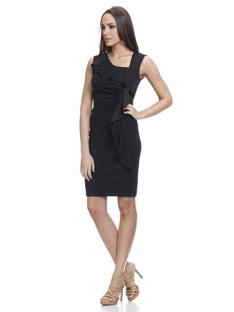Сукня чорна з воланом Tantra 3013825