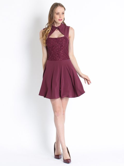 Платье бордовое Maison espin 2782648