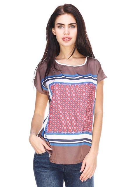 Блуза коричнева з принтом Esprit 3029878