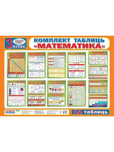 Комплект таблиць «Математика. 3 клас» (укр.) Ранок Наочні Посібники 3040305