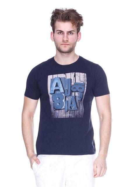 Футболка темно-синя з принтом Armani Jeans 3029921