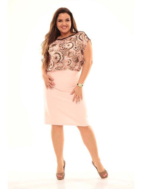 Платье розовое в принт Мисс мода 3068017
