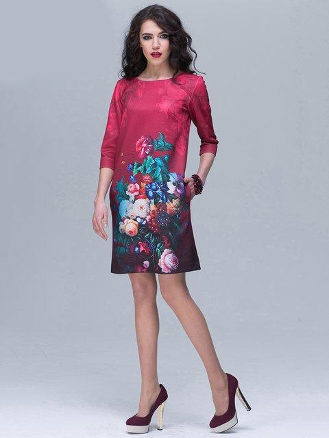 Сукня бордова з квітковим принтом Jet 2170338