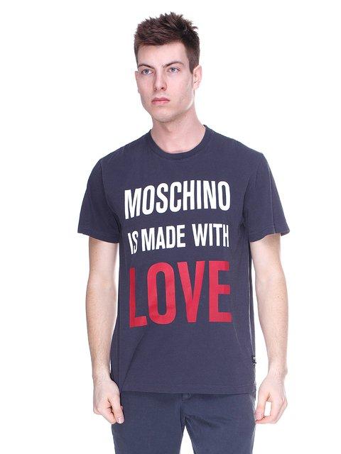 Футболка асфальтового кольору з принтом Love Moschino 2191662