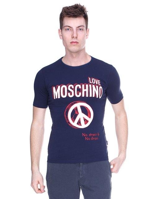Футболка темно-синя з принтом Love Moschino 1521723