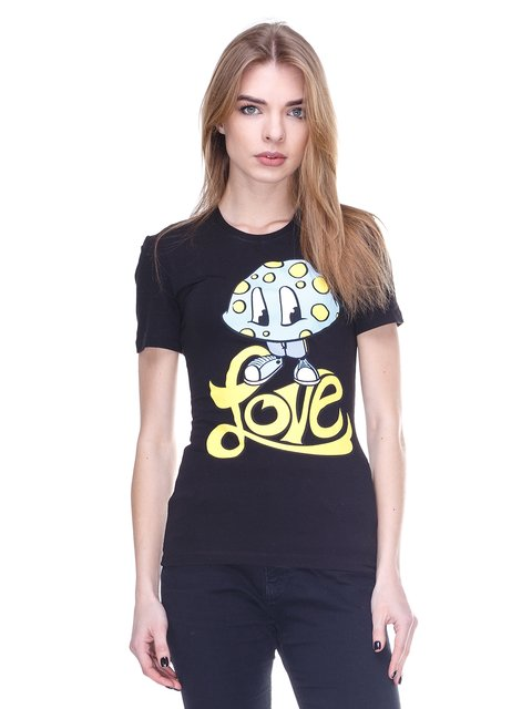 Футболка чорна з принтом Love Moschino 2112559