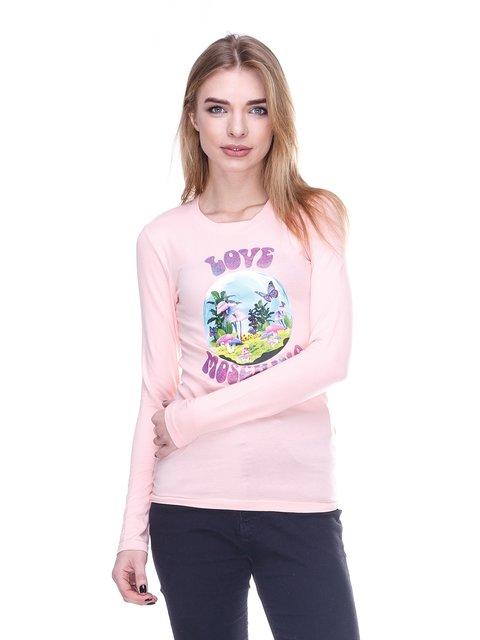 Лонгслів рожевий з принтом Love Moschino 2146517