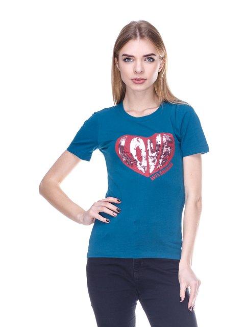 Футболка синя з принтом Love Moschino 2112553