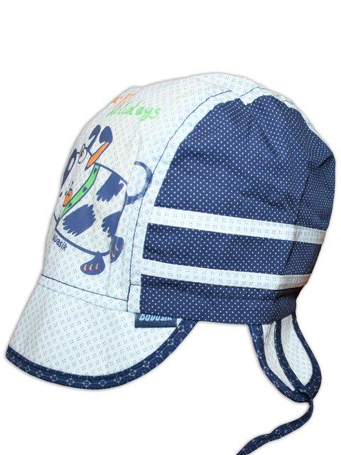 Кепка біло-синя з комбінованим принтом Babasik 3105592