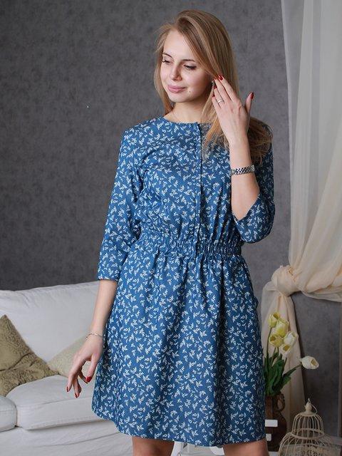Платье синее в принт VSV 3122364