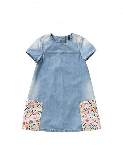 Платье голубое с принтом Benetton 3143655