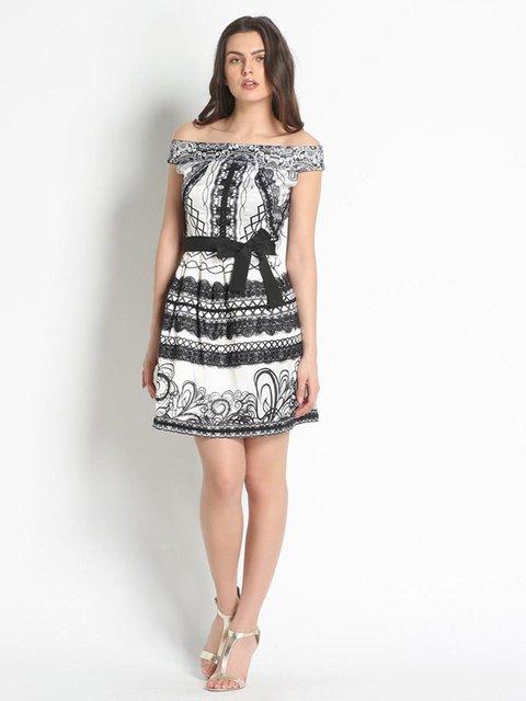 Платье черно-белое с принтом Rinascimento 3186189