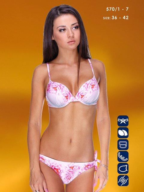 Купальник рожевий в принт Kathrin 3187464