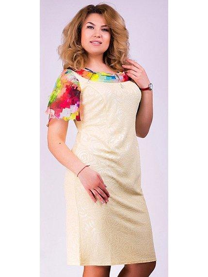 Платье желтое в принт Мисс мода 3195497