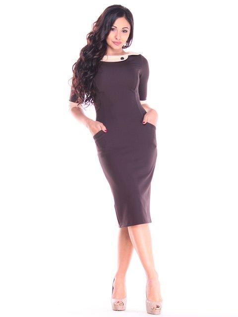 Платье шоколадно-бежевое Maurini 2784051