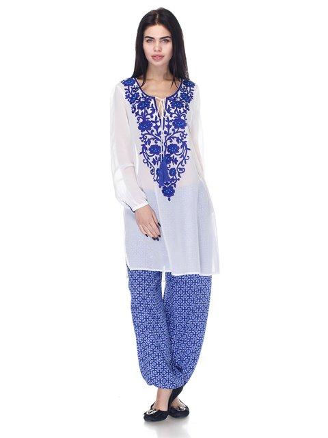 Штани блакитні в принт Marks&Spencer 3245390