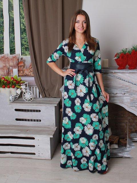 Платье синее в цветочный принт VSV 3270774
