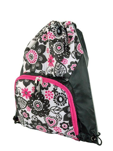 Рюкзак-мішок чорний в квітковий принт Traum 3299987
