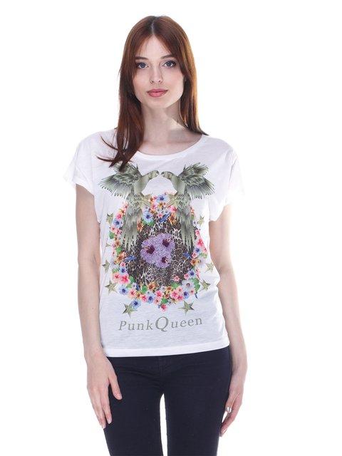 Футболка белая с принтом Punk Queen 377922