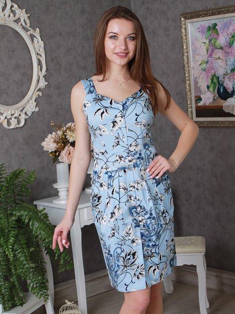 Платье голубое в принт VSV 2521405