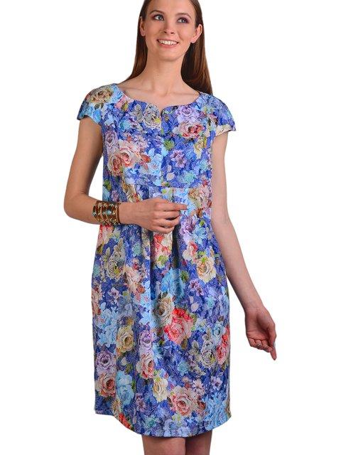 Сукня синя в квітковий принт Feminelle 3340648