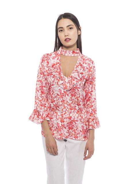 Блуза в цветочный принт Trussardi 3333023