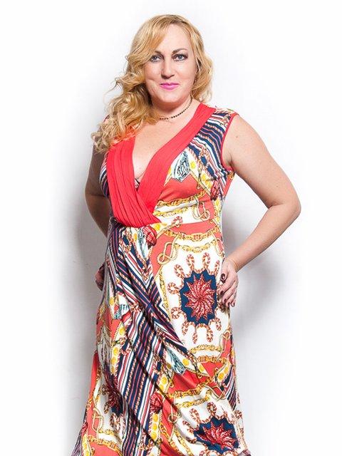 Платье коралловое в принт LibeAmore 3327831