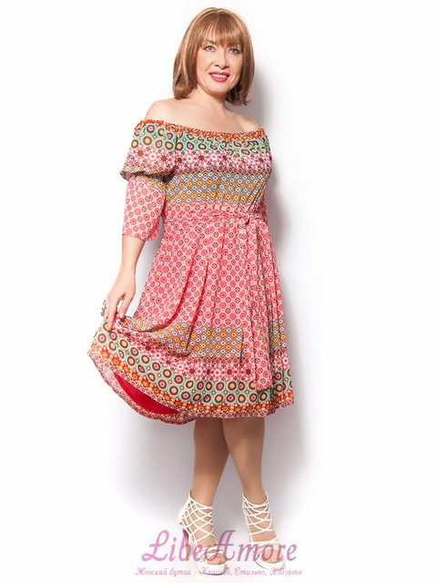 Сукня рожева в принт LibeAmore 3365287