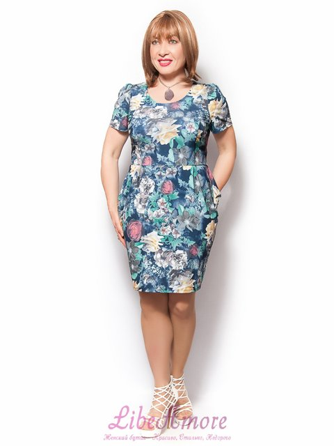 Платье синее в принт LibeAmore 3365290