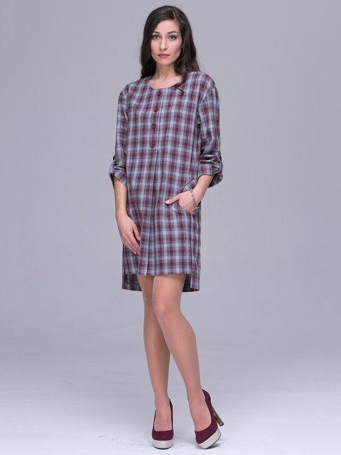 Платье серо-бордовое в клетку Jet 3118830