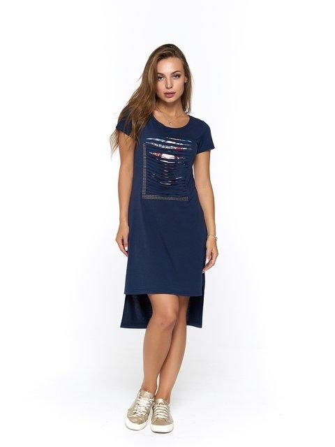 Платье синее с принтом MOONLIGHT 3475042