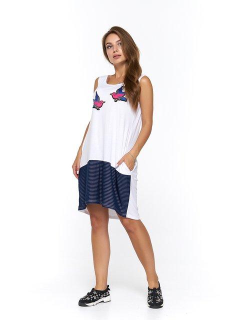 Платье бело-синее в полоску с принтом MOONLIGHT 3475044