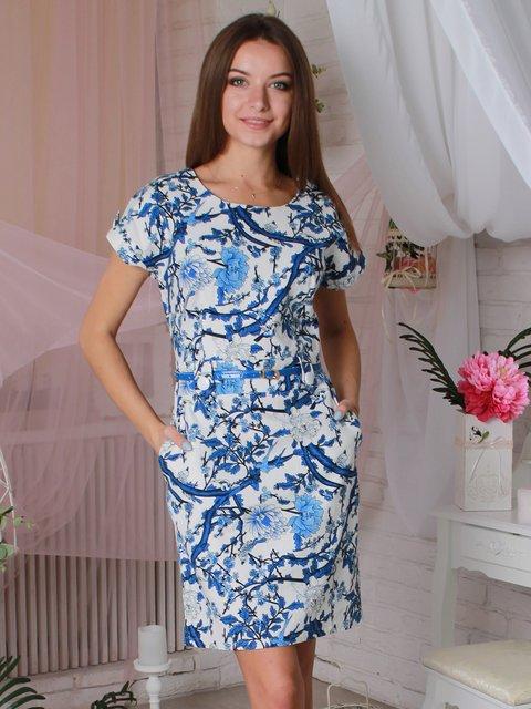 Платье белое в цветочный принт VSV 3460274