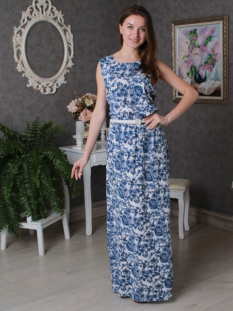 Платье синее в цветочный принт VSV 3497963