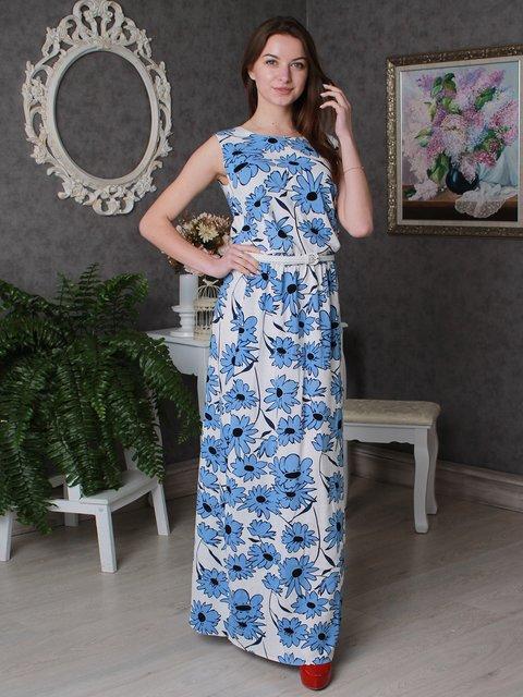 Платье бело-синее в цветочный принт VSV 3497964