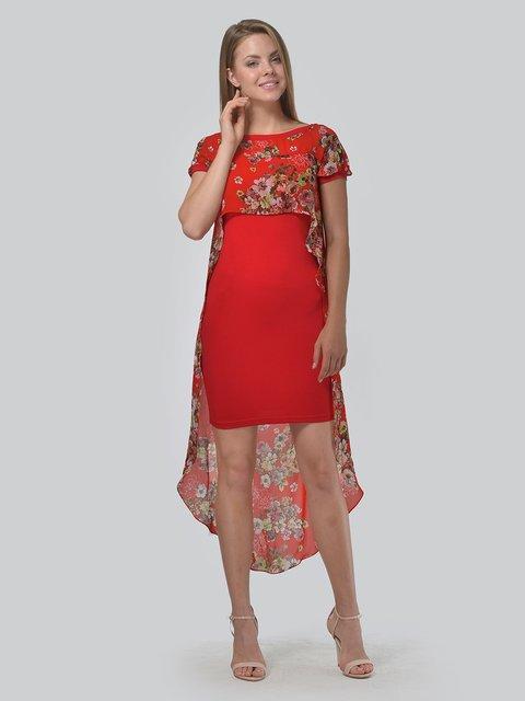 Платье красное с цветочным принтом AGATA WEBERS 3498278