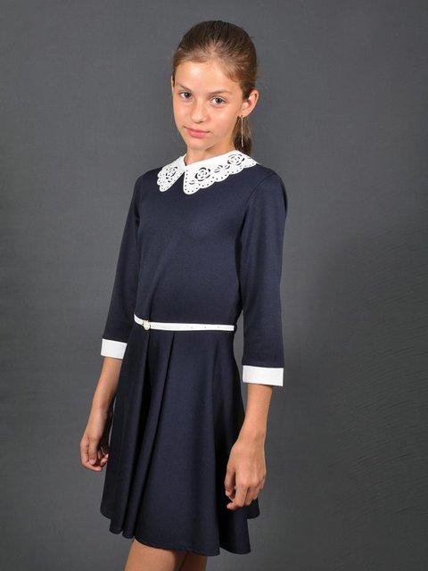 Платье синее со съемным ажурным воротником Lider Class 3435611