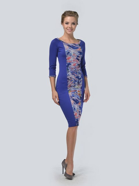Платье синее в принт LILA KASS 3505473