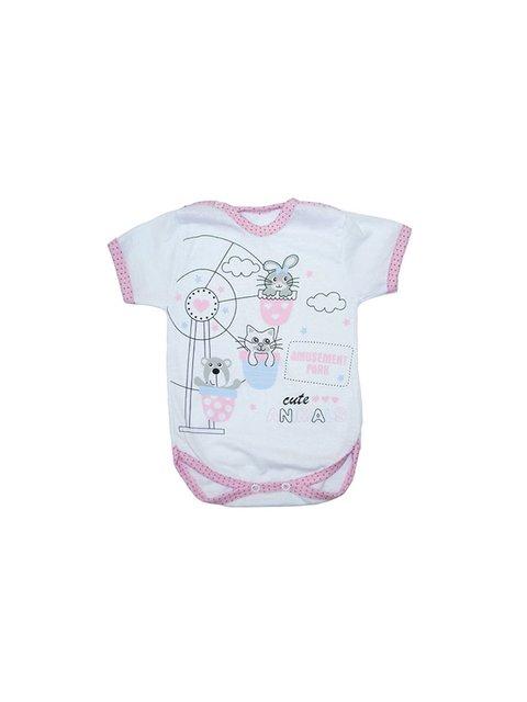 Боди белое с принтом и розовой окантовкой Малыш 3506538