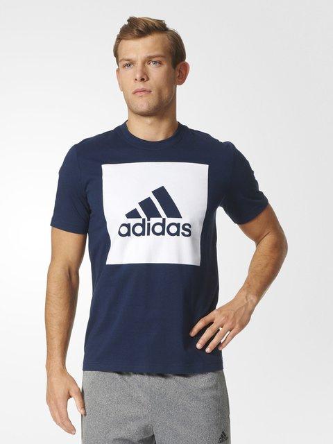 Футболка синяя с принтом Adidas 3502976