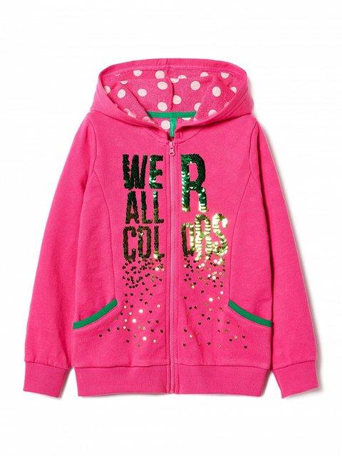Толстовка розовая с принтом Benetton 3520765