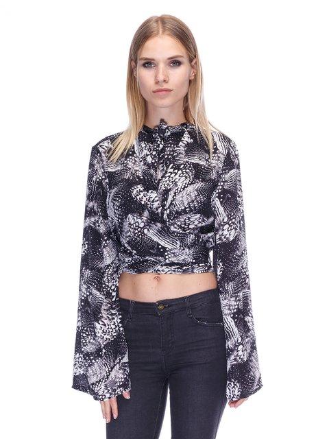 Блуза чорна в принт H&M 3430118