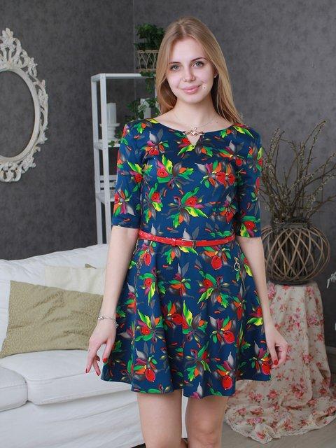 Платье синее в цветочный принт VSV 3596863