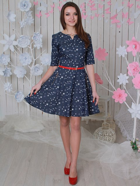 Платье синее в принт VSV 3596864