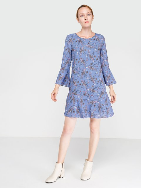 Платье синее в цветочный принт BGN 3606476