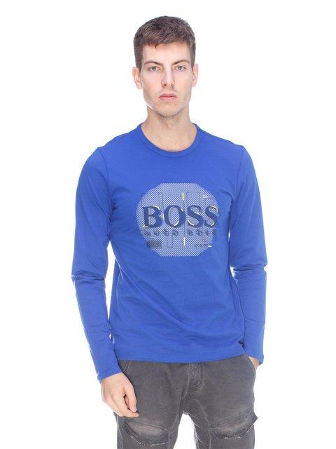 Лонгслів кольору електрик з принтом HUGO BOSS 3623708