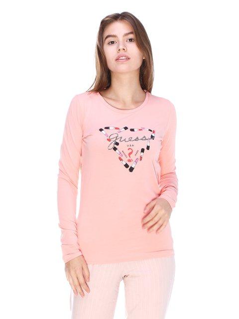 Лонгслів рожевий з принтом Guess 3623703