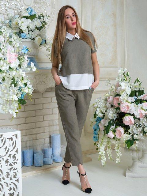 Костюм: блуза и брюки First Land Fashion 3646428