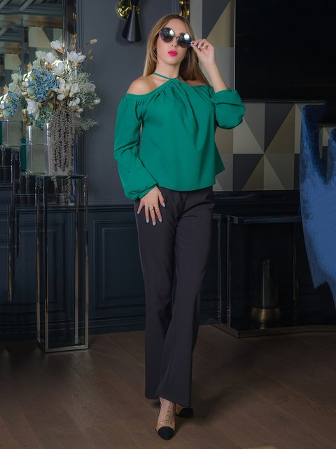 Блуза зелена First Land Fashion 3646509