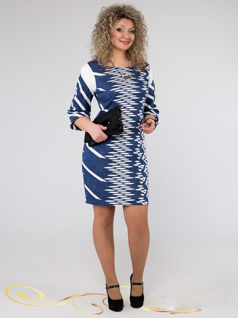 Платье синее в принт Seventeen 3546369
